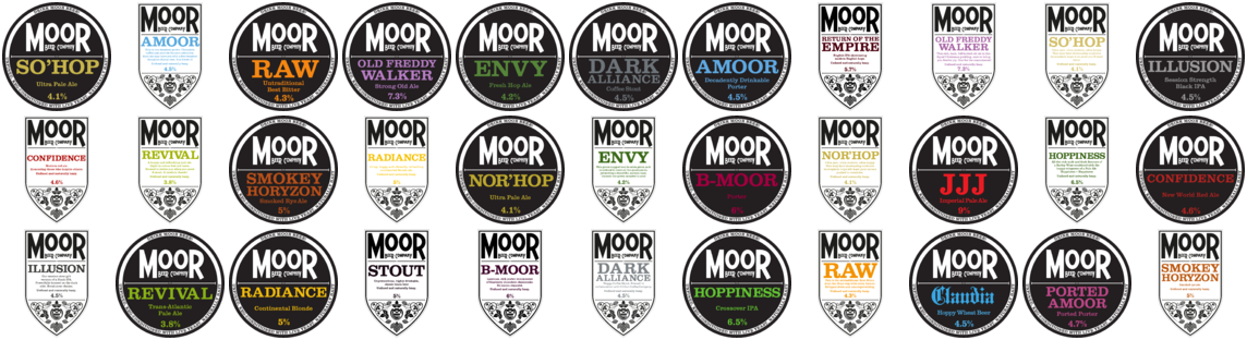 Some Moor Badges (no, we don't have ALL these beers:) I wish!
